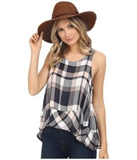 Bb Dakota Roy Drapey Yarn Dye Plaid Button Back Tank Top Rose Smoke Women's Sleeveless Pink