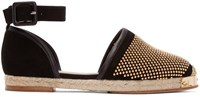 Giuseppe Zanotti Black And Gold Studded Drillas Espadrilles