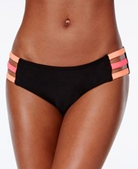 Bikini Nation Block And Roll Colorblocked Strappy Hipster Bottoms Women's Swimsuit Black Pink Multi