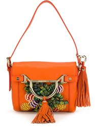 Borbonese Beaded Embroidery Shoulder Bag Yellow And Orange