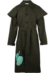 J.W.Anderson Snail Patch Trench Coat Green