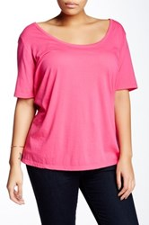 Susina Elbow Length Sleeve Scoop Neck Tee Plus Size Pink