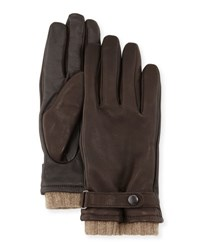 Ugg Belted Leather Tech Gloves Brown