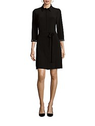 Laundry By Shelli Segal Point Collar Embellished Cuff Dress Black