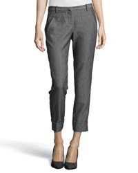 Halston Skinny Cuffed Ankle Pants Dark Heather Gray