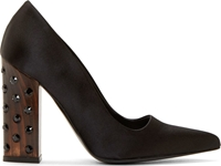 Stella Mccartney Black Embellished Wooden Heel Pumps