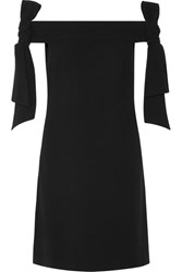 Tibi Off The Shoulder Bow Embellished Crepe Mini Dress Black