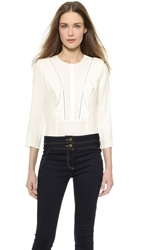 Veronica Beard Flutter Blouse With 3 4 Sleeves White
