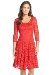 Women's Chetta B 'Magic' Lace Fit And Flare Dress Scarlet