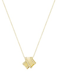Carelle Diamond Pave Perimeter Knot Pendant Necklace In Yellow Gold Gold White