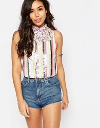 Asos Sleeveless High Neck Embellished Crop Top In Stripe Multi Green