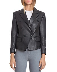 Bagatelle. City Lamb Leather Double Breasted Blazer Black