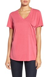 Bobeau Women's Short Sleeve Pocket Tee Red