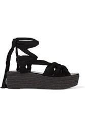 Sigerson Morrison Cosie Lace Up Suede Sandals Black