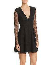Mustard Seed Sheer Sleeve Fit And Flare Dress Black