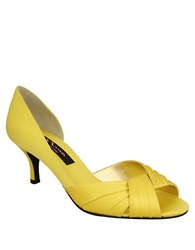 Nina Culver Satin Open Toe Pumps Yellow