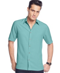 John Ashford Big And Tall Short Sleeve Textured Shirt Caribbean Turquoise