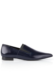 Alexander Wang Leather Pointed Flat Loafers Navy Navy