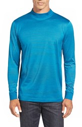 Men's Bugatchi Long Sleeve Mock Neck T Shirt Turquoise