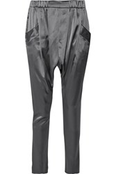Baja East Satin Tapered Pants Anthracite
