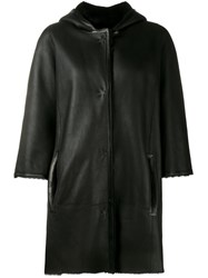 Yves Salomon Hooded Leather Coat Black
