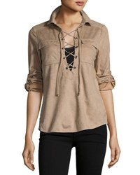 Cirana Faux Suede Lace Up Tunic Light Brown