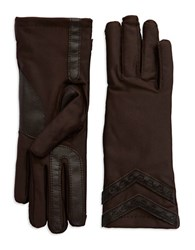 Isotoner Leather Accented Chevron Tech Gloves Brown