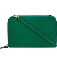 Whistles Union Leather Cross Body Bag Green