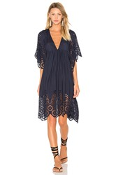 Ganni V Neck Lace Dress Navy