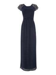 Elise Ryan Cap Sleeved Lace Shoulder Maxi Dress Navy