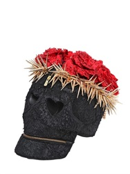 Manish Arora Faux Fur Skull Clutch With Crown