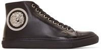 Versus Black Leather Lion Head Anthony Vaccarello Edition Sneakers
