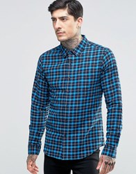 Another Influence Checked Shirt Blue