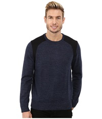 Calvin Klein Cotton Poly Heather Ponte Crew Neck Sweater Heather Blue Men's Sweater