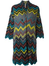 Antonio Marras Chevron Cardi Coat Multicolour