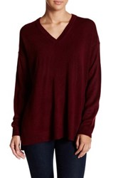 Sweet Romeo Oversized V Neck Pullover Sweater Red