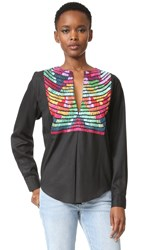 Mara Hoffman Embroidered Top Black Multi