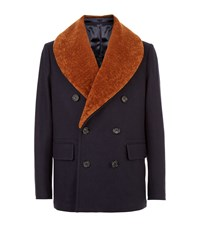 Alexander Mcqueen Sheepskin Collar Pea Coat Male