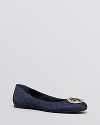 Tory Burch Ballet Flats Quinn Denim Blue