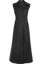 Maison Martin Margiela Leather Trimmed Pinstriped Wool And Angora Blend Vest Black