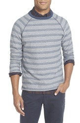 Billy Reid 'Indian' Trim Fit Stripe Crewneck Sweatshirt Grey Blue
