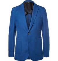 Hardy Amies Blue Slim Fit Cotton And Virgin Wool Blend Hopsack Blazer
