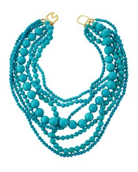 Kenneth Jay Lane Multi Strand Beaded Turquoise Hue Statement Necklace Women's