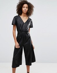 Liquorish Leather Look Wide Leg Culotte Jumpsuit Black