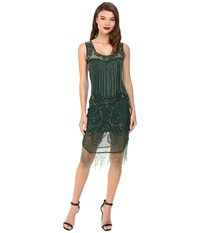 Unique Vintage Hand Beaded Draping Fringe Flapper Dress Green Women's Dress