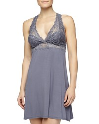 Fleurt Whispers Of Love Lace Bust Chemise Blue Granite