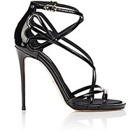 Dolce And Gabbana Women's Patent Leather Strappy Sandals Black Blue Black Blue