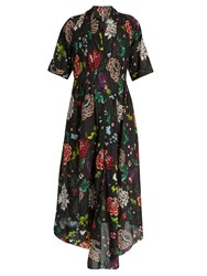 Adam By Adam Lippes V Neck Floral Print Cotton Dress Red Multi