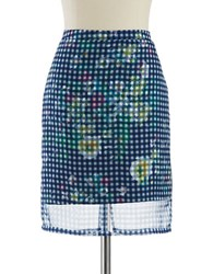 Lord And Taylor Petite Checkered And Floral Skirt Nightfall