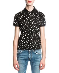 Saint Laurent Moon And Star Polo Shirt Black
